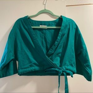 Teal wrap crop top